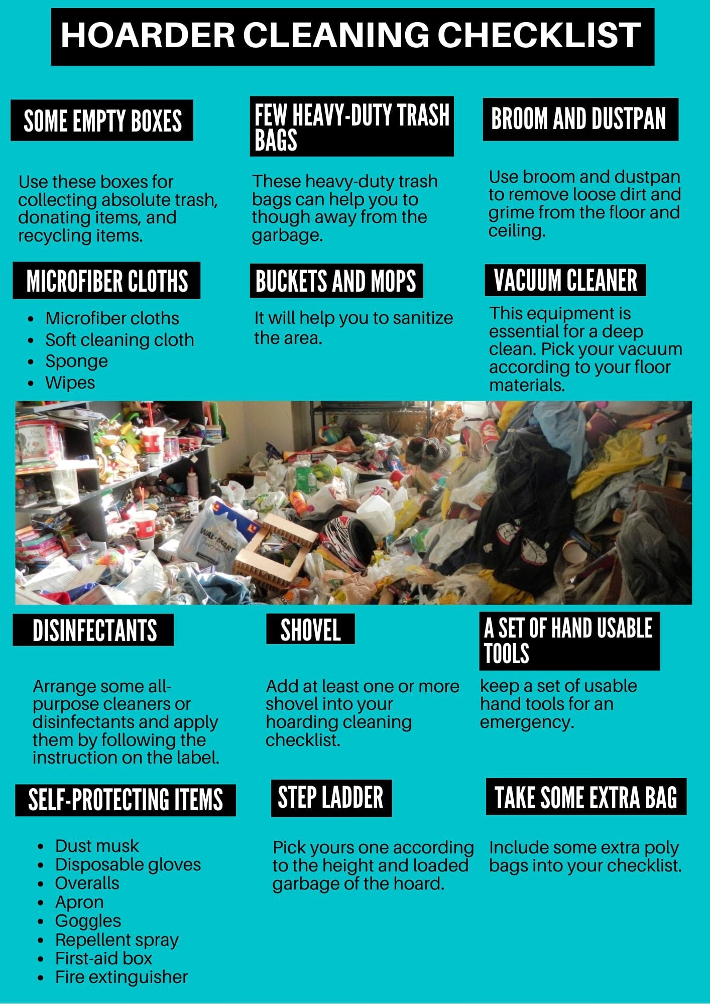 Hoarder cleaning checklist