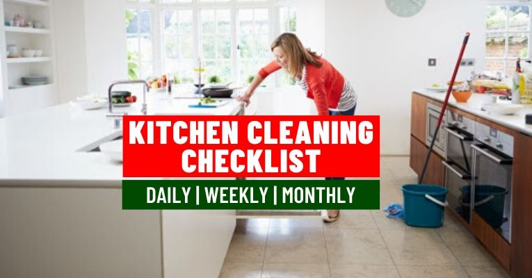 Daily weekly and monthly Kitchen cleaning checklist